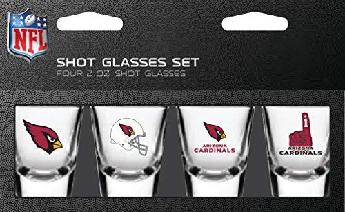 NFL Arizona Cardinals Shot Glass Set4 Pack Shot Glass Set, Team Colors, One Size