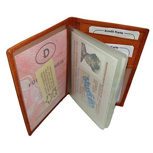 Echtleder Hülle für Ausweis Kreditkarten Dokumentenetui Etui Leder Mappe Visitenkarten Farherausweis EC-Karte, Cognac Rustikal