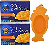 Kraft Deluxe Macaroni and Cheese Dinner Bundle - Real Kraft Original Cheddar Cheese, 2-14 Ounce Boxes - with Limited Edition Kraft Jurassic Dino Bowl