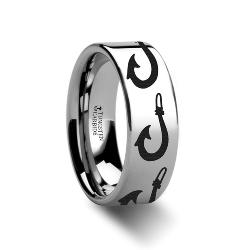 Thorsten Polynesian Fishing Hook Design Sport Fishing Print Pattern Flat Polished Tungsten Ring 8mm Wide Wedding Band from Roy Rose Jewelry