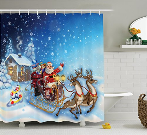 Shower Curtain, Santa in Sleigh with Reindeer and Toys in Snowy North Pole Tale Fantasy Image, Fabric Bathroom Decor Set with Hooks, 70 Inches, Navy Blue ()