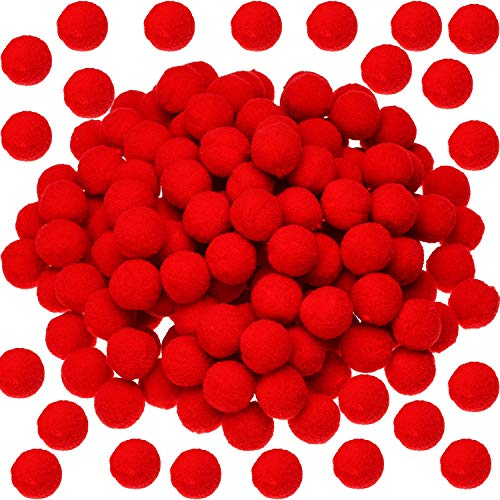 Sumind 100 Pieces Pom Poms Christmas Fluffy Pom Poms Balls for Decorations Arts Crafts DIY, Red (2 cm)
