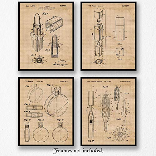- Original Chanel Beauty & Fragrance Patent Art Poster Prints - Set of 4 (Four) Photos - 8x10 Unframed - Great Wall Art Decor Gifts Under $20 for Home, Office, Showroom, Designer, Interior Decorator