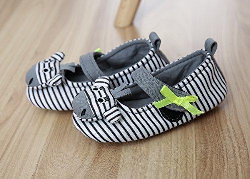 TOFERN Kinder Pantoffeln Streifen mit Schleife Tier warm rutschfest Cartoon für Zimmer, Grau EU 30.5 Grau