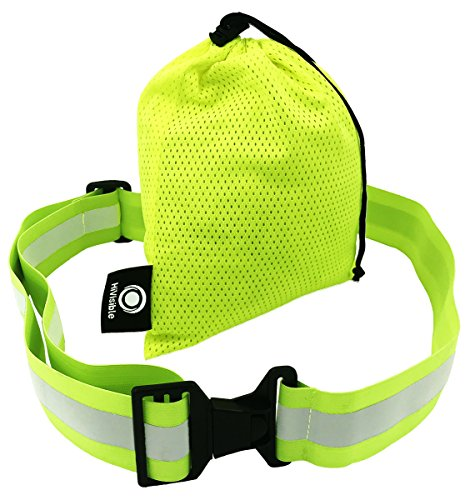 High visibility Reflective Belt, Army PT Belt. Reflective running gear for men and women for night running cycling walking. Military safety reflector strips. Adjustable reflective tape band (Glow Belt)