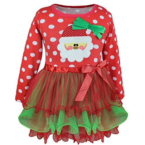 [TIAOBU Girls Christmas Long Sleeve Bow Polka Dots Candy Santa Party Tutu Dress Red 4-5] (Christmas Outfit)