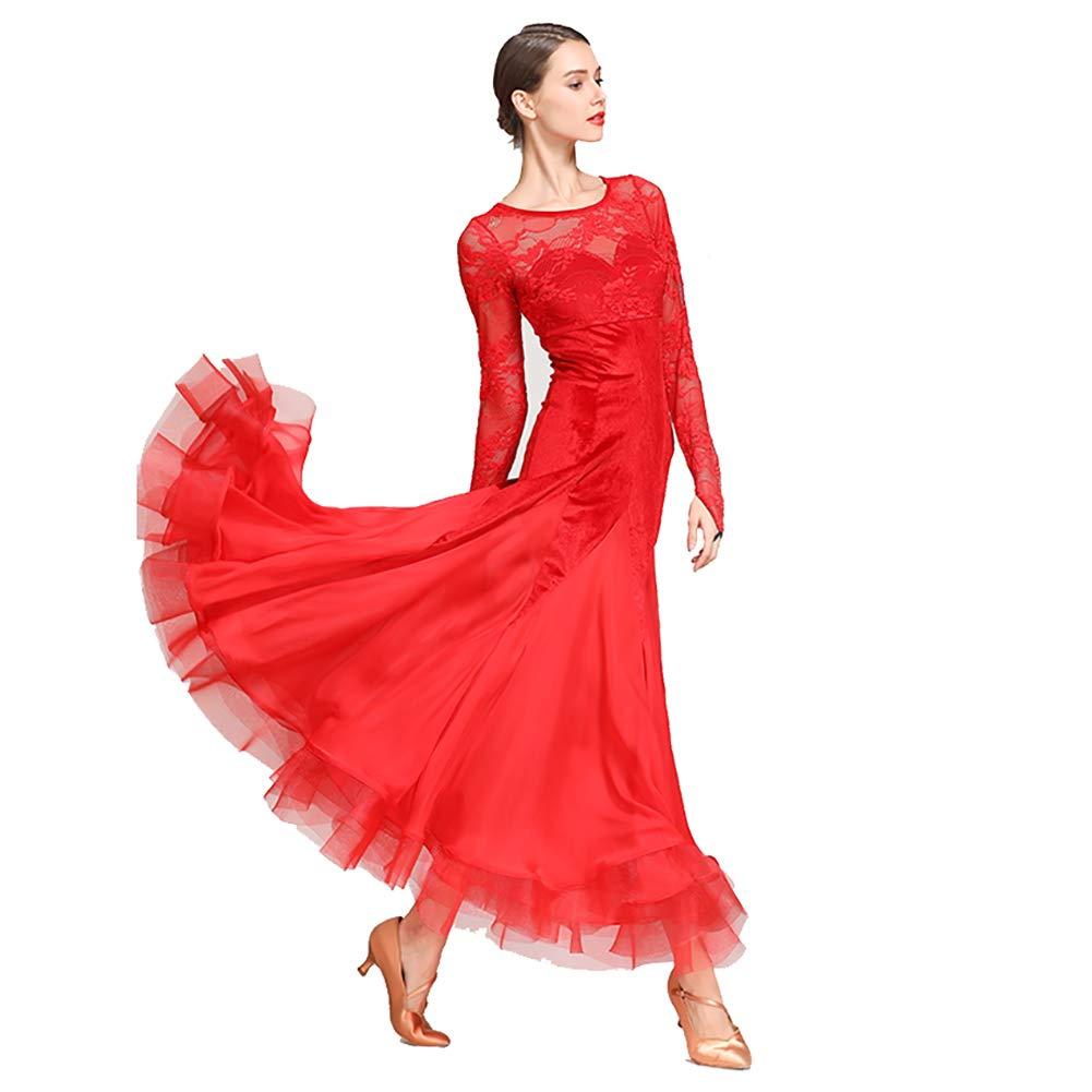 rouge S XHTW&B Femmes Dentelle Manches Longues Adulte Danse Jupe Les Robes Col Rond Flexible étape Les Costumes élégant Fête Concurrence Robe