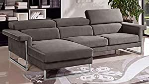 Modern Brown Fabric Jade Sectional - Left Chaise