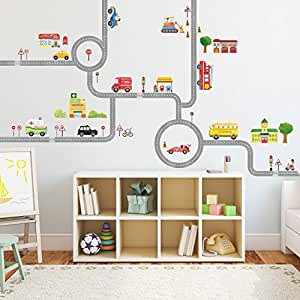 Decowall DA-1404 The Road and Cars Kids Wall Decals Wall Stickers Peel and Stick Removable Wall Stickers for Kids Nursery Bedroom Living Room (Medium)
