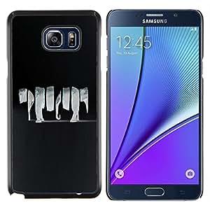 YiPhone /// Prima de resorte delgada de la cubierta del caso de Shell Armor - Animal Elefante Negro Grey Art - Samsung Galaxy Note 5 5th N9200