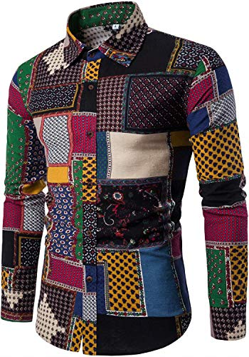 HENGAO Men's Long Sleeve Tribal Patchwork Regular Fit Linen Button Down Shirt, CS8, S/36R = (Tag XL)