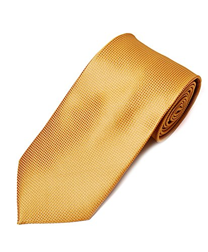Graph Solid Micro Fiber Poly Woven Slim Tie (Gold)