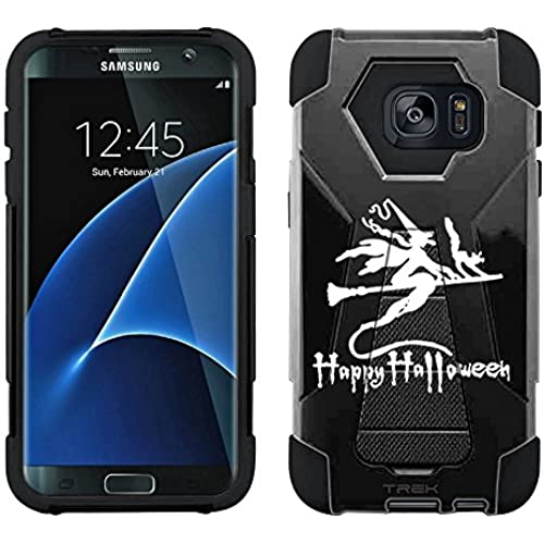 Samsung Galaxy S7 Edge Hybrid Case Happy Halloween Witch on Black 2 Piece Style Silicone Case Cover with Stand Sales