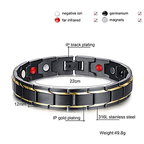 Men Titanium Stainless Steel Magnetic Therapy Bracelet 4 Elements Health Bangle Pain Relief for Arthritis With Free Link Remove Tool By Santune