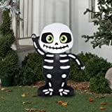 Inflatable Lighted Halloween Skeleton Decoration, 3.5 Foot Tall, Airblown, This Product Lights Up