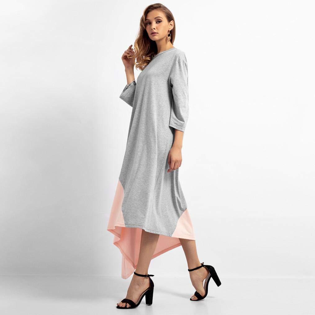 DOGZI Mujer Vestido Color sólido Vestido Largo O-Cuello Musulmán islámico Medio Este Maxi Robe Costura Suelta Talla Grande Vestidos de Medio Oriente: ...