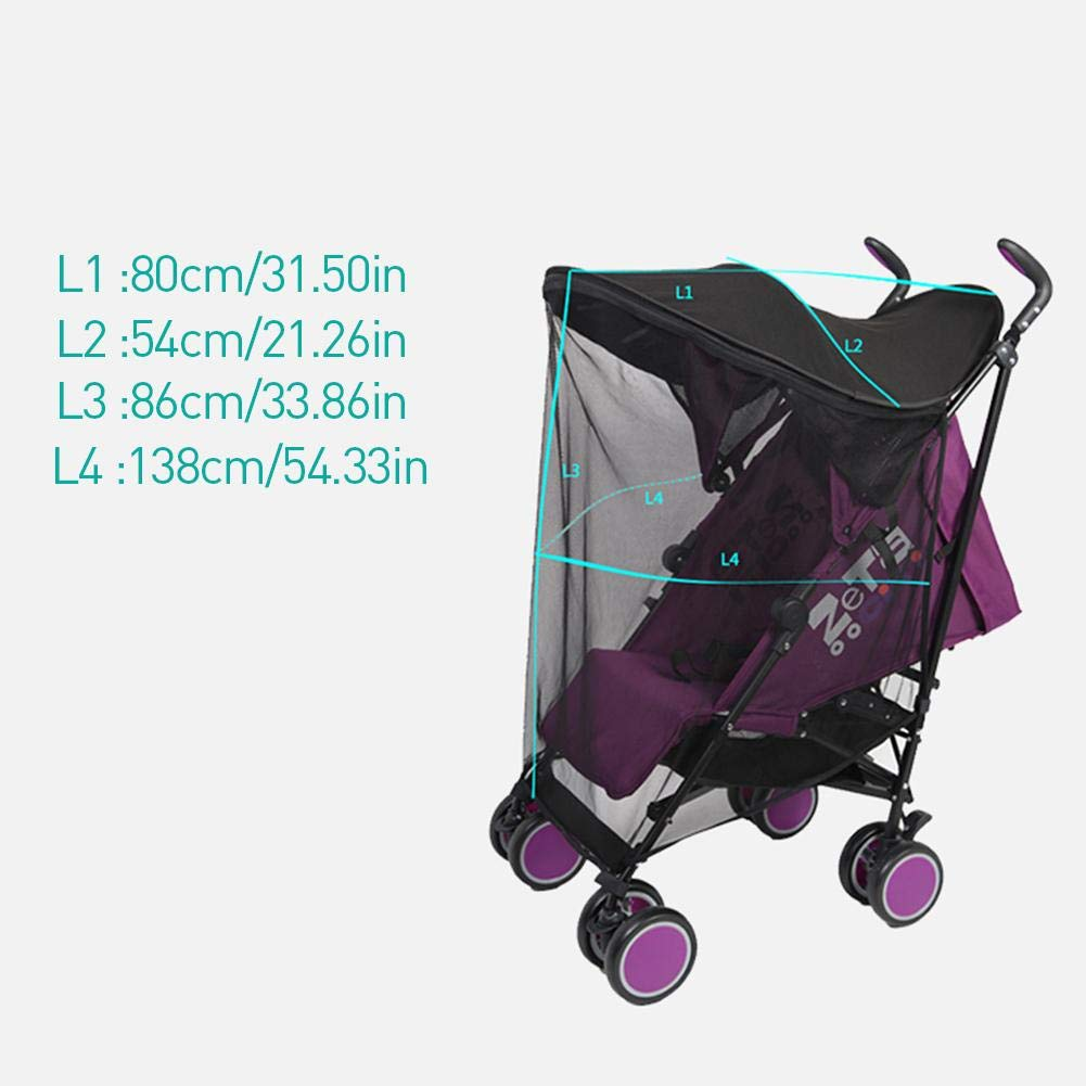 Ladeyi Baby Stroller Sunshade for Baby Buggy Uv Protection Universal Baby Mosquito Net Umbrella Cart Sunshade Cloth Mosquito Net Umbrella Stroller Sunshade Cover(cart is Not Included) by Ladeyi (Image #2)