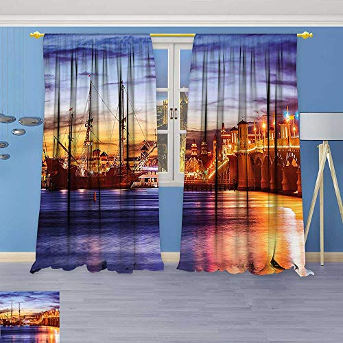 Philiphome Room Darkening Window Curtains,St. Augustine Florida Famous Bridge of Lions Dreamy Sunset Majestic Orange Blue Coral Back Tab, Set of Two Panels 96W x 108L (Majestic 2 Light Sconce)