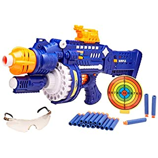 "Rapid Rotating ""Barrel Attack Blaster"" by Dimple, with 40 Suction Tipped Foam Darts Included & Auto Rotating Magazine Chamber Shoots up to 40 Feet!"