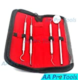 AA PRO DENTAL HYGIENE KIT - CALCULUS & PLAQUE REMOVER SET - STAINLESS STEEL TARTER SCRAPER, TOOTH PICK, DENTAL SCALER AND MOUTH MIRROR.DENTIST HOME USE TOOLS A+ QUALITY