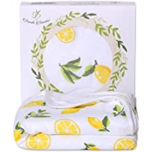 Bamboo Hooded Baby Bath Towel - Luxury Spa Super Soft for Sensitive Skin - Lemon, 2 Layers, Reversible - Absorbent, Keep Dry&Warm-Antibacterial,Hypoallergenic-Perfect Shower Registry Gift