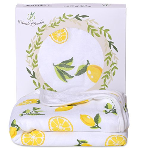 Bambi Bamboo Hooded Baby Bath Towel - Luxury Spa Super Soft for Sensitive Skin - Lemon, 2 Layers, Reversible - Absorbent, Keep Dry&Warm-Antibacterial,Hypoallergenic-Perfect Shower Registry Gift (Hooded Hooded Bath Bath Towel Towels)
