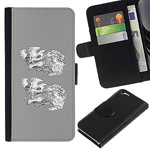 EJOY---La carpeta del tirón la caja de cuero de alta calidad de la PU Caso protector / Apple Iphone 6 / --Lobo gris dibujos animados de blanco Carácter