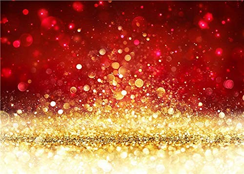 Red with Gold Spots Photography Backdrop (Not Glitter) Baby Photo Background Photo Booth Props 7x5FT