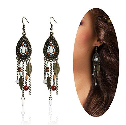 Eternity J. Women Vintage Retro Ethnic Drop Bohemian Dangle Earring Lolita Antique Bead Tassel (Antique Womens Beads)