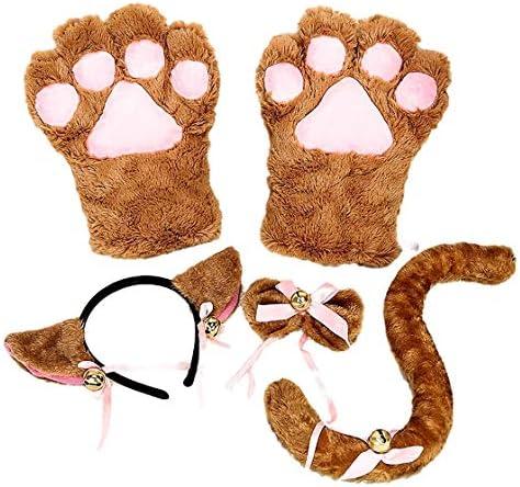[eones]肉球 手袋 猫 ハロウィン コスプレ 猫耳カチューシャ 猫グローブ しっぽ 蝶ネクタイ 4点セット (ブラウン)