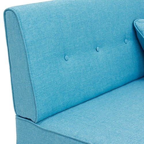 Best Choice Products Contemporary Linen Fabric Tufted Upholstered Armless Loveseat Sofa w/Throw Pillows (Light Blue)
