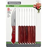Tramontina PROLine Porter House Steak Knifes, Stainless Steel, Polywood Handles, 8 Pack
