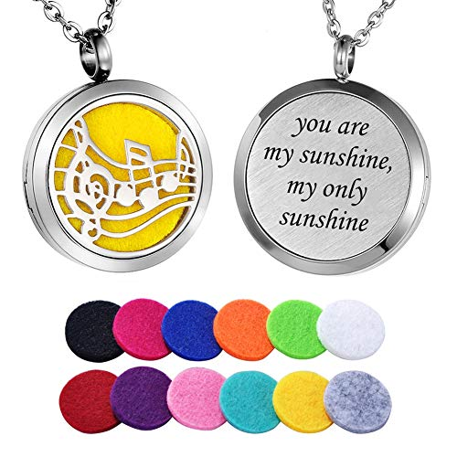 (HooAMI Essential Oil Diffuser Necklace Aromatherapy Jewelry Musical Note Pendant - You are My Sunshine, My only Sunshine)