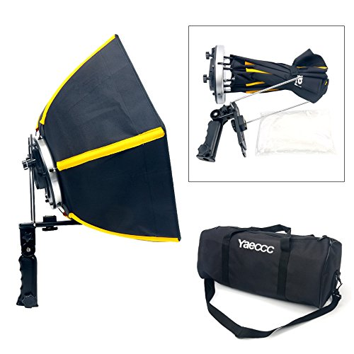 YaeCCC 20 inches/50 centimeters Professional Hexagonal Softbox Collapsible Diffuser with Handle Grip for Speedlight Studio Flash for Portrait or Product Photography (Black&Yellow) Yaemart Corportation