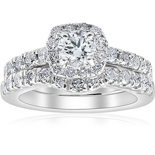 1 ct Cushion Halo Diamond Engagement Matching Wedding Ring Set 14K White Gold - Size 6.5