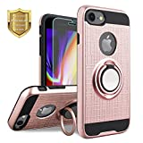 iPhone 8 Case, iPhone 7 Case, KACHEN 360 Degree Rotating Ring Grip Kickstand, Dual Layer Shock Absorption Anti Scratch Protection Compatible Magnetic Car Phone Mount (Rose Gold)