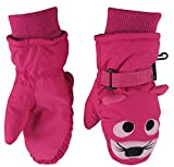N'Ice Caps Little Girls and Baby Cute Animal Faces Waterproof Winter Mittens (2-3yrs, Tiger - Fuchsia)