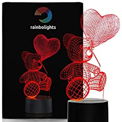 I LOVE YOU VALENTINES Teddy Bear Night Light with Balloon 7 Color LED Does Not Get Hot By rainbolights Ideal as a sympathy gift or a romantic gift.