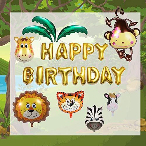 22Pcs /Set Animal Banlloons Aluminium Foil Jungle Theme Party Happy Birthday Ballon Monkey Lion Kids Children Decorations -