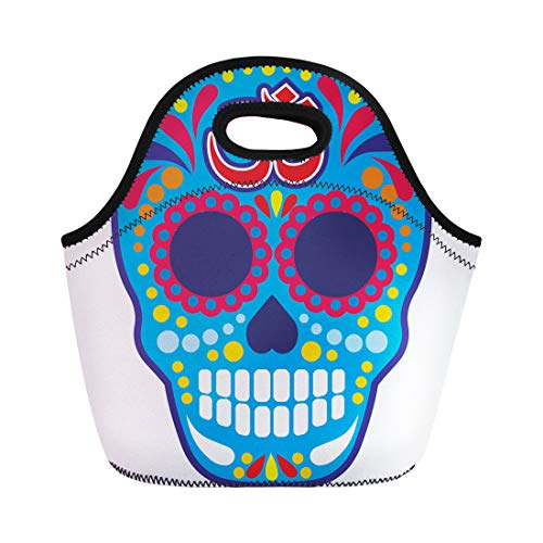 Semtomn Lunch Tote Bag Aum Sugar Skull Om Vintage Bone Buddha Death Halloween Reusable Neoprene Insulated Thermal Outdoor Picnic Lunchbox for Men Women -