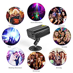 51kTFauo OL. SS300  - GVOO-DiscokugelGvoo-Sound-Aktivierte-Party-Light-LED-Bhnenprojektor-6-Farben-24-Muster-mit-Fernbedienung-fr-Urlaub-Party-Kinder-Geburtstag-Karaoke-Club-Lichteffekte-Weihnach