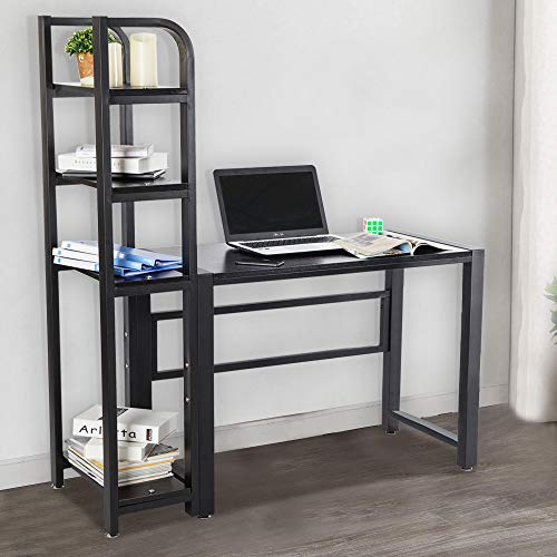 Zhanrui Computer Desk with 4 Tier Storage Shelves Modern Large Office Desk Computer Table Multi Level Writing Study Table with Bookshelf and Tower Shelf for Home Office Workstation,Black
