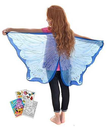 [Douglas Toys Dreamy Dress-Ups 50583 Blue Fairy Wings with Coloring Book] (Dress Up Fairy Wings)