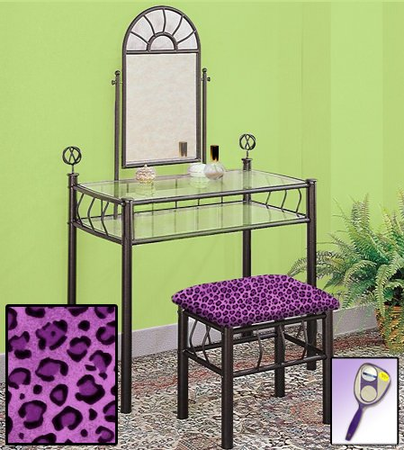 New Black Metal Sunburst Make Up Vanity Table with Mirror & Purple Cheetah Animal Print Themed Bench by The Furniture Cove