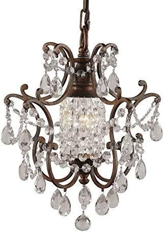 Feiss F1879 1BRB Maison De Ville Crystal Mini Chandelier Lighting, Bronze, 1-Light 11 Dia x 14 H 100watts