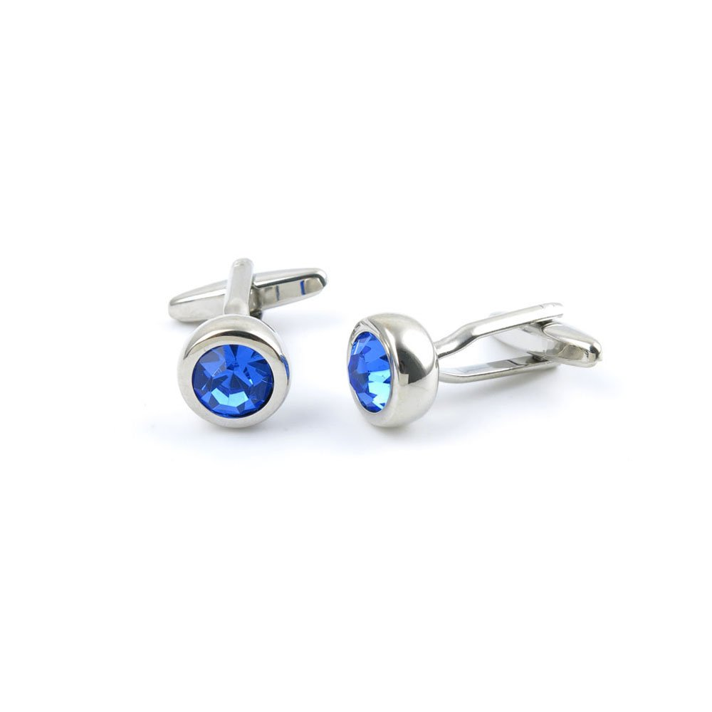 Men Boy Jewelry Cufflinks Cuff Links Party Favors Gift Wedding YS073 Faceted Blue Round Crystal