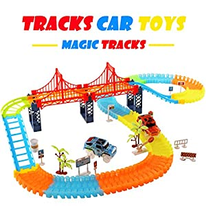 Race Tracks Car Toys, HQQN 360 Pieces Magic Tracks Mega Set with 2 Vehicles, 1 Hanging Bridge and Other Traffic Accessories, Track Car Toys for Kids