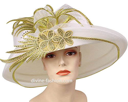 Womens Wide Brim Kentucky Derby, Church Hat, Dressy Formal Hats #94066 (Gold Trimmed Satin Collection)