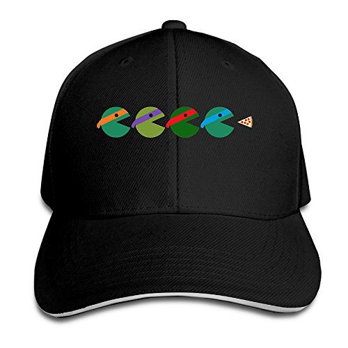 Logon 8 Pac-Turtles Adjustable Sandwich Peaked Cap Black One Size