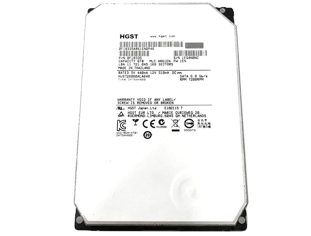 HGST HGST Ultrastar He6 6TB 3.5'' SATA 7200 RPM Enterprise Internal Hard Drive with 64Mb Cache - HUS726060ALA640/0F18335 64 MB Cache 3.5-Inch Internal Bare or OEM Drives 0F18335 (Certified Refurbished) by HGST (Image #2)